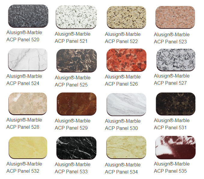 marble acp panel color chart